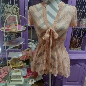 Forever 21 Sheer Lace Top Size S/P